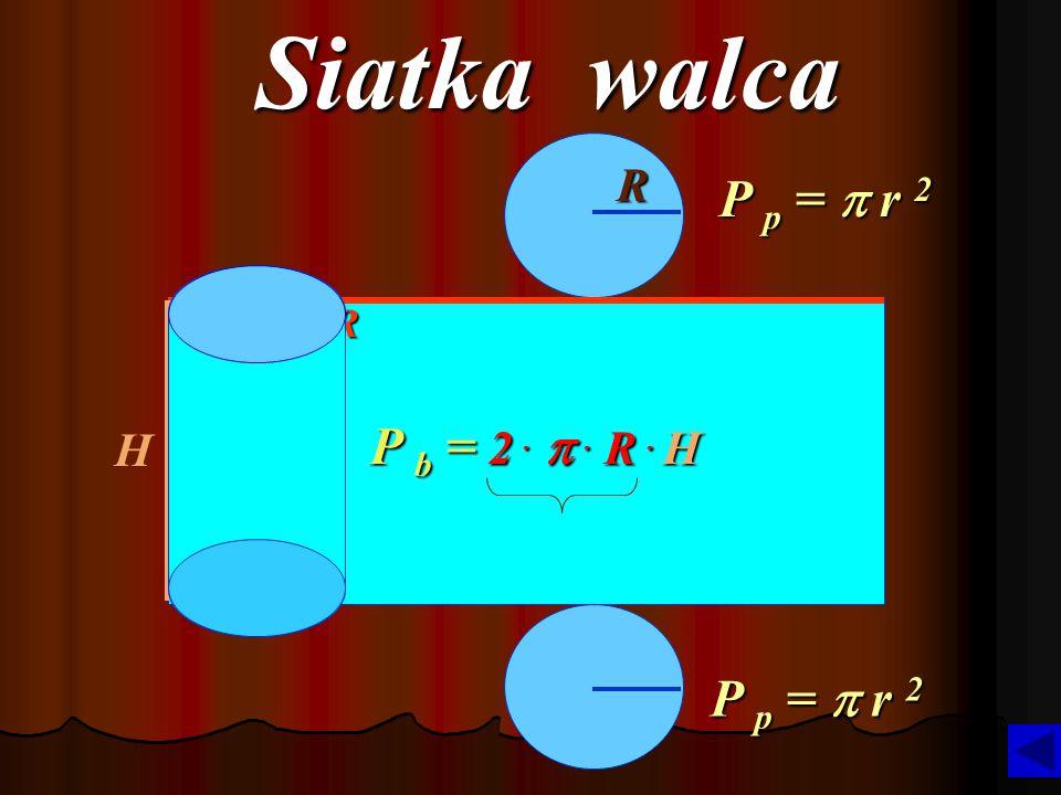 Siatka walca R P p = p r 2 2 .  . R P b = 2 .  . R . H H P p = p r 2