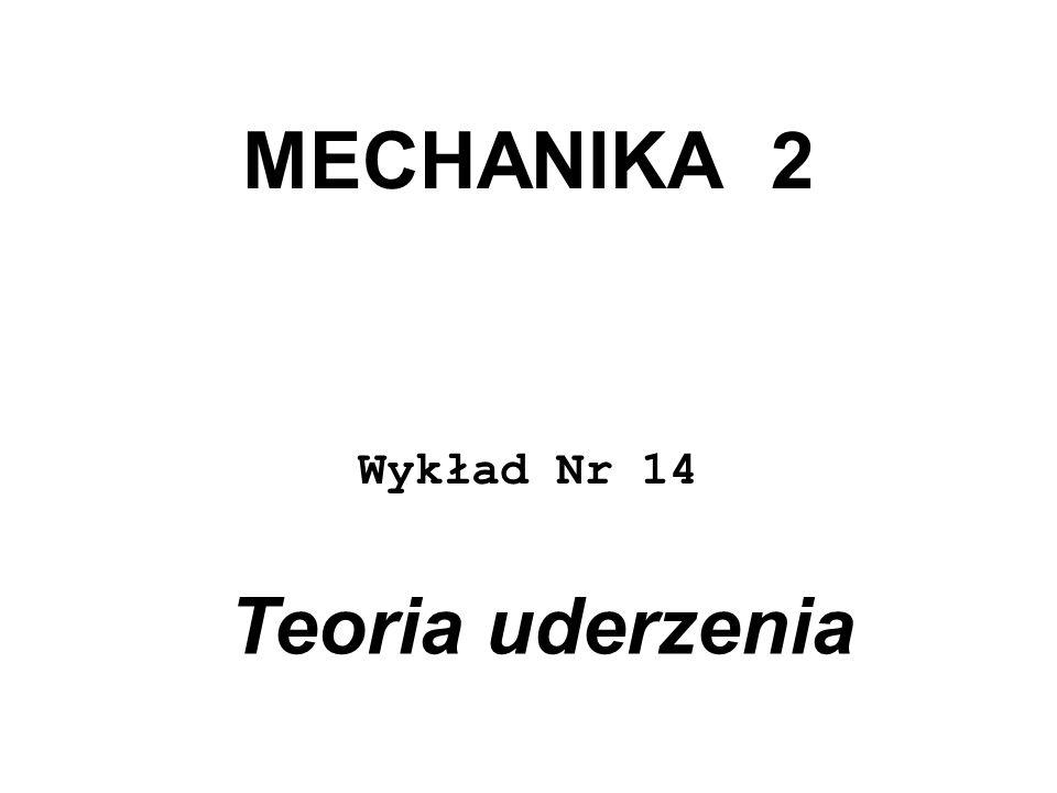 MECHANIKA 2 Wykład Nr 14 Teoria uderzenia