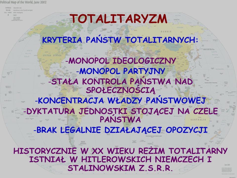 TOTALITARYZM KRYTERIA PAŃSTW TOTALITARNYCH: MONOPOL IDEOLOGICZNY