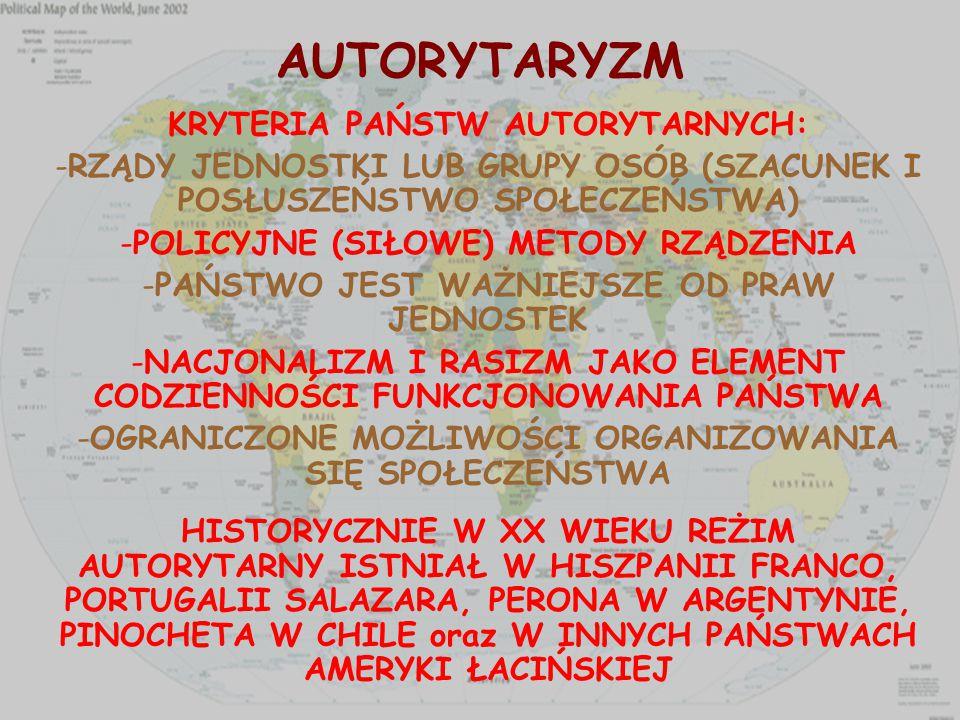 AUTORYTARYZM KRYTERIA PAŃSTW AUTORYTARNYCH: