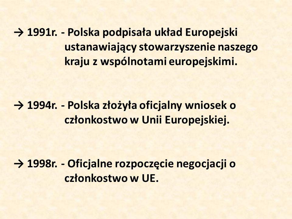 → 1991r. - Polska podpisała układ Europejski