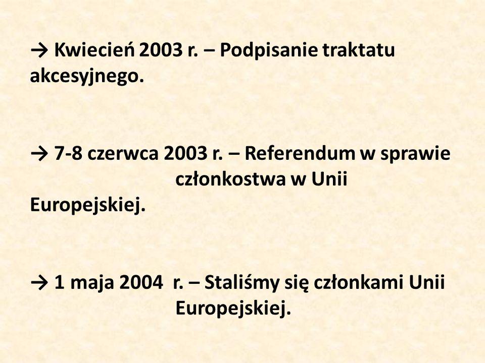 → Kwiecień 2003 r. – Podpisanie traktatu akcesyjnego