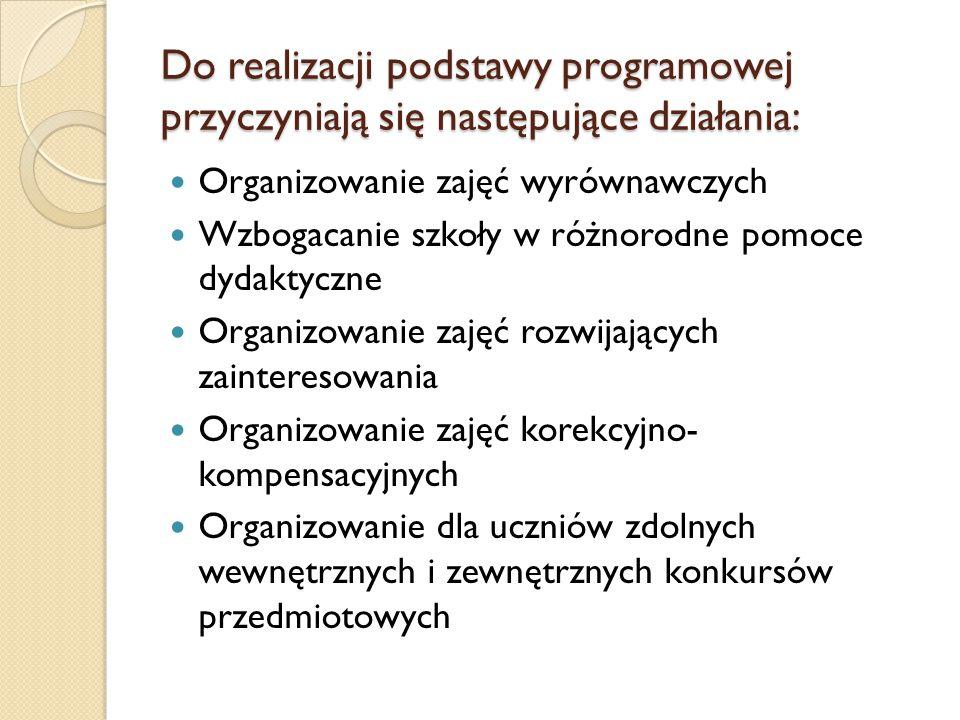 Do realizacji podstawy programowej przyczyniają się następujące działania: