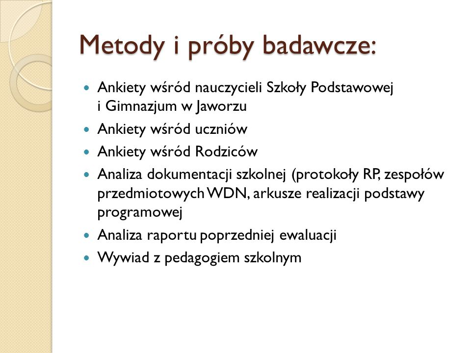 Metody i próby badawcze: