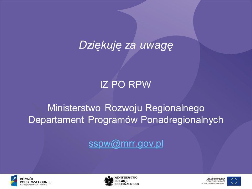 Dziękuję za uwagę IZ PO RPW Ministerstwo Rozwoju Regionalnego Departament Programów Ponadregionalnych sspw@mrr.gov.pl