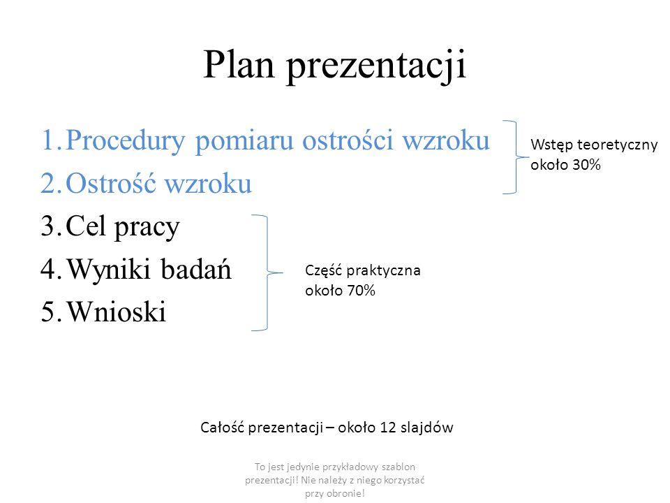 Plan prezentacji Procedury pomiaru ostrości wzroku Ostrość wzroku