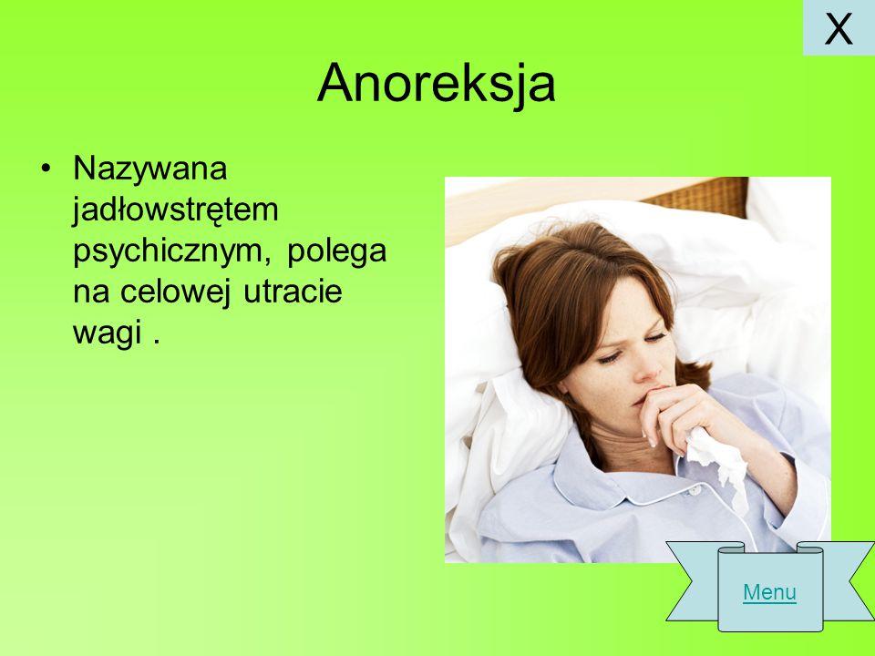 X Anoreksja Nazywana jadłowstrętem psychicznym, polega na celowej utracie wagi . Menu
