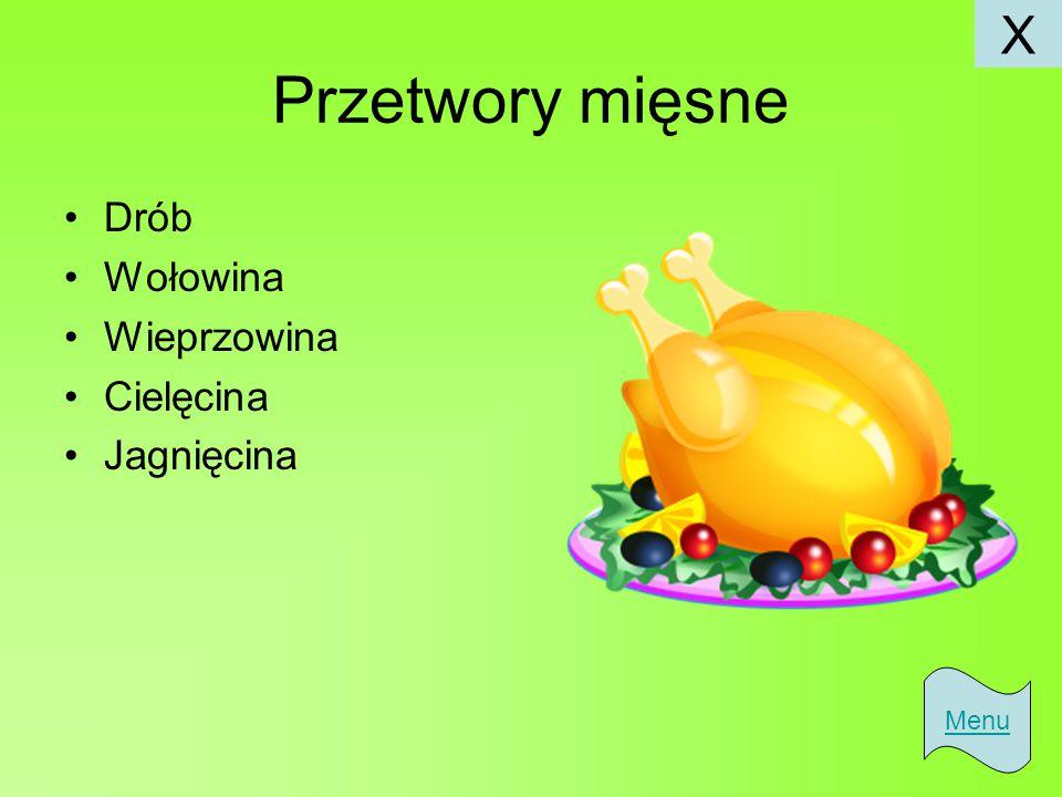X Przetwory mięsne Drób Wołowina Wieprzowina Cielęcina Jagnięcina Menu