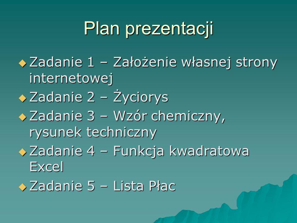 Plan prezentacji Zadanie 1 – Założenie własnej strony internetowej