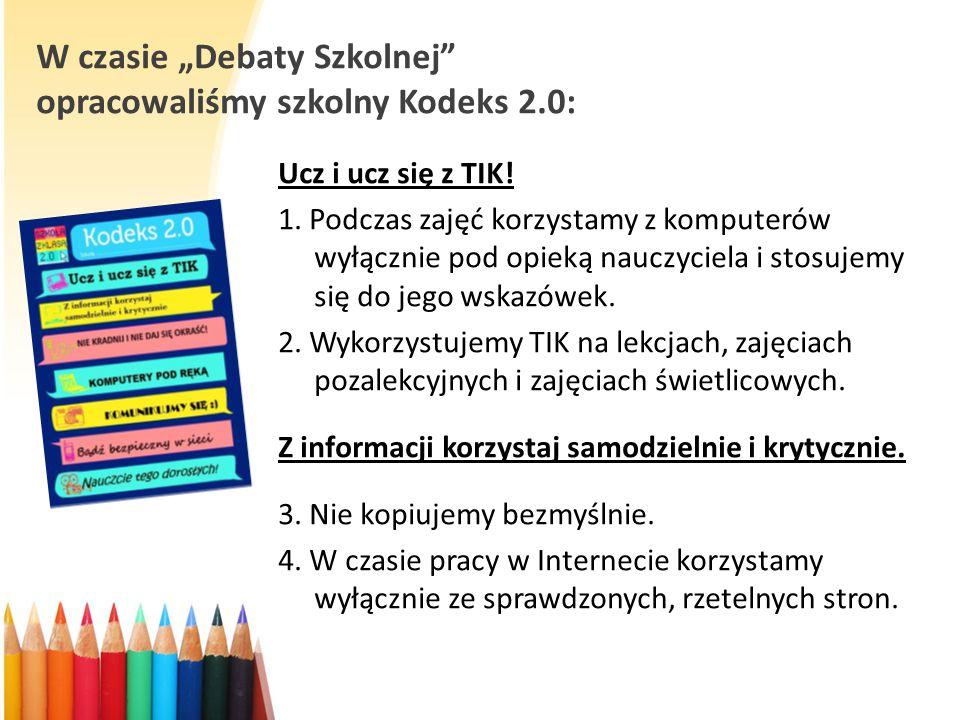 """W czasie """"Debaty Szkolnej opracowaliśmy szkolny Kodeks 2.0:"""