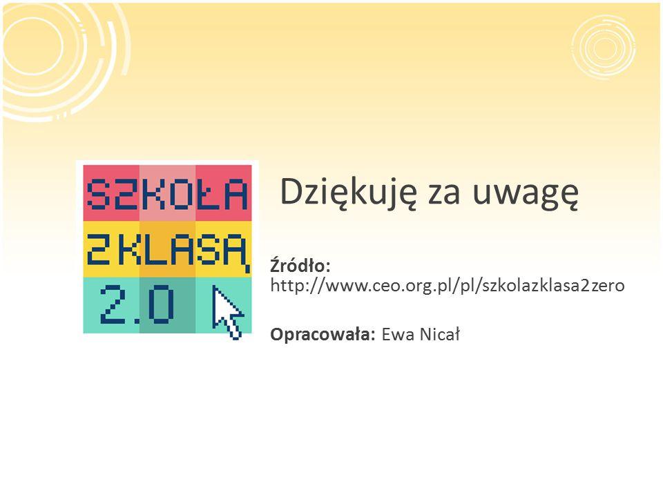Dziękuję za uwagę Źródło: http://www.ceo.org.pl/pl/szkolazklasa2zero Opracowała: Ewa Nicał