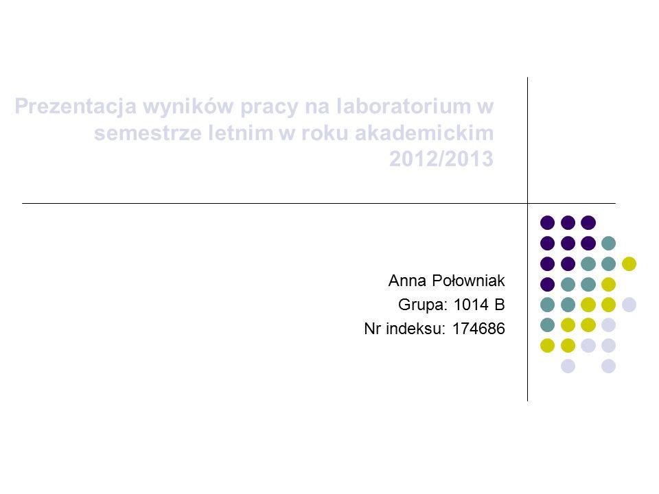 Anna Połowniak Grupa: 1014 B Nr indeksu: 174686