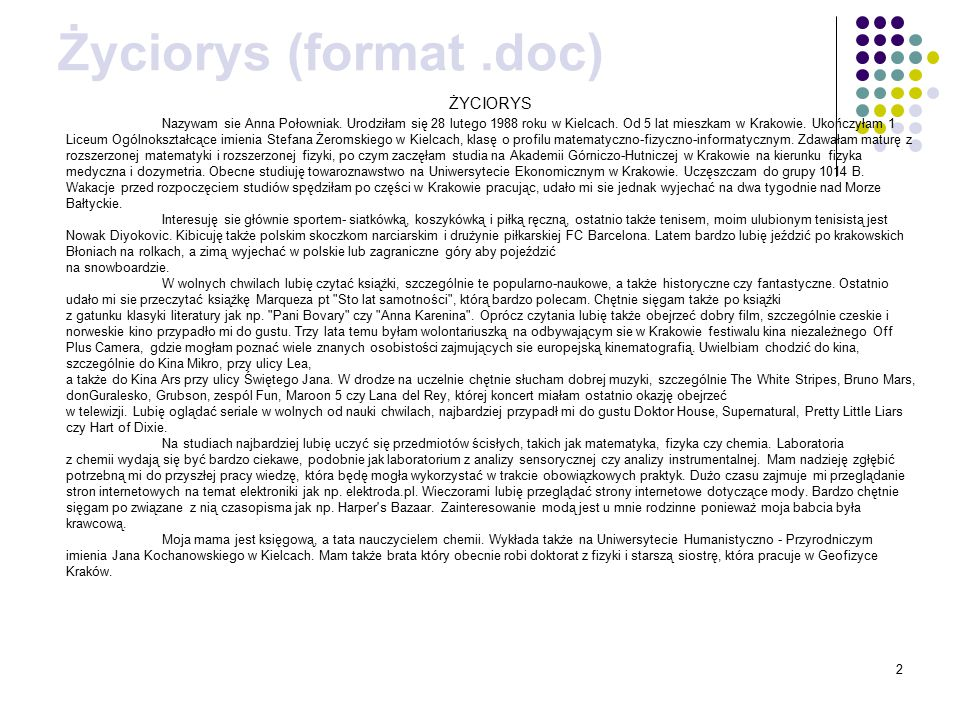 Życiorys (format .doc) ŻYCIORYS