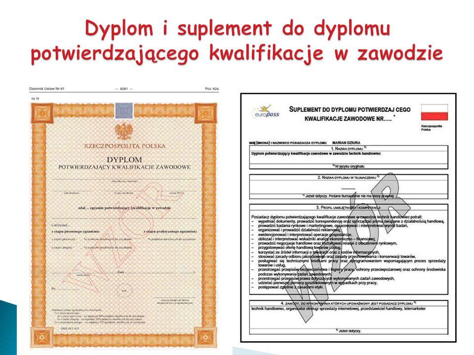 Dyplom i suplement do dyplomu potwierdzającego kwalifikacje w zawodzie
