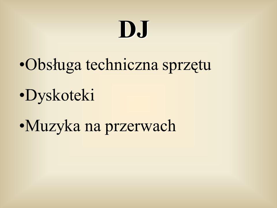 DJ Obsługa techniczna sprzętu Dyskoteki Muzyka na przerwach