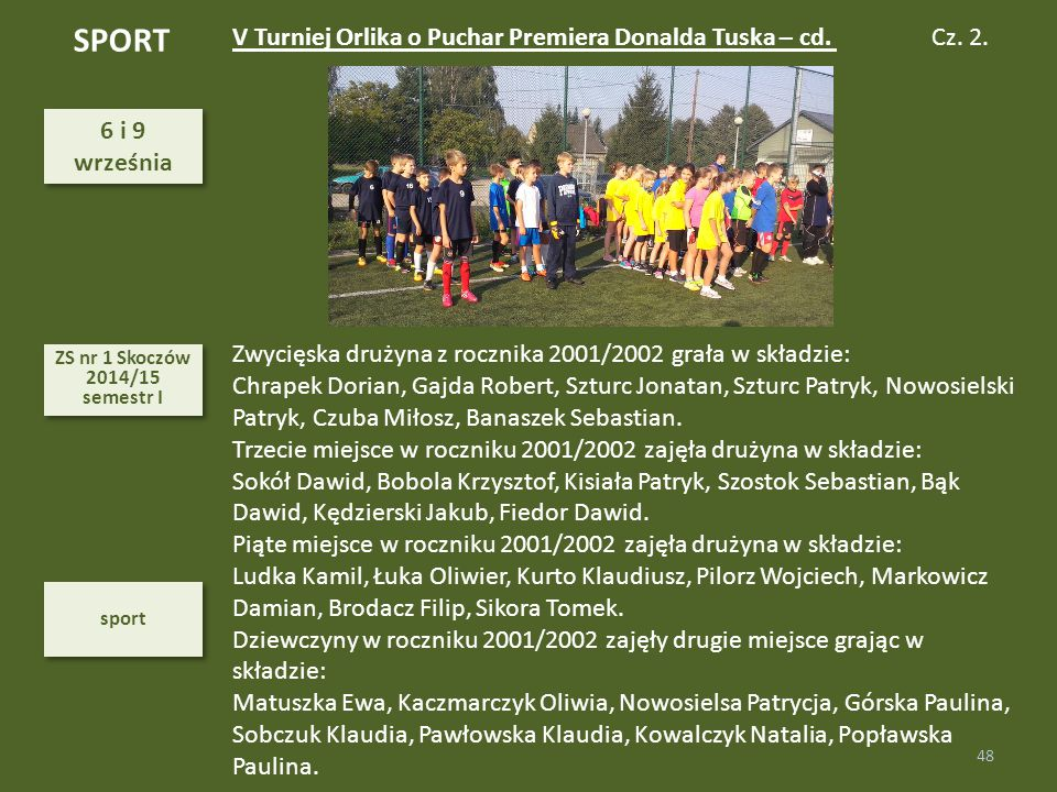 SPORT V Turniej Orlika o Puchar Premiera Donalda Tuska – cd.