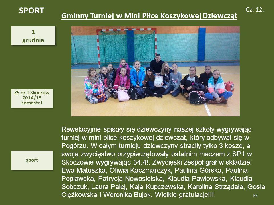 SPORT Gminny Turniej w Mini Piłce Koszykowej Dziewcząt Cz. 12. 1
