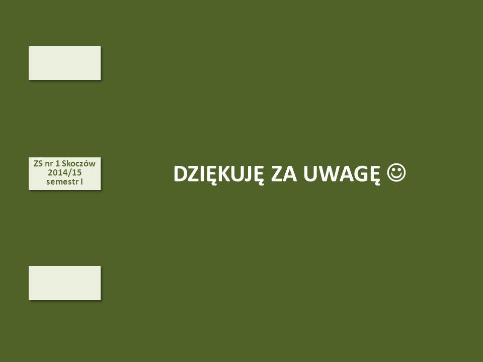 ZS nr 1 Skoczów 2014/15 semestr I DZIĘKUJĘ ZA UWAGĘ 