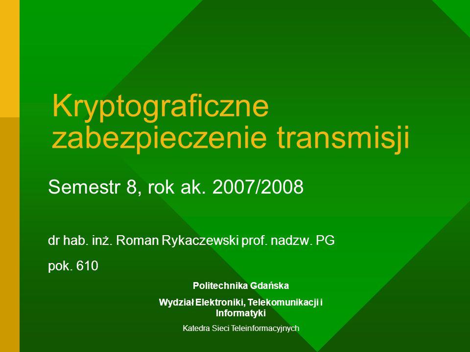 Kryptograficzne zabezpieczenie transmisji