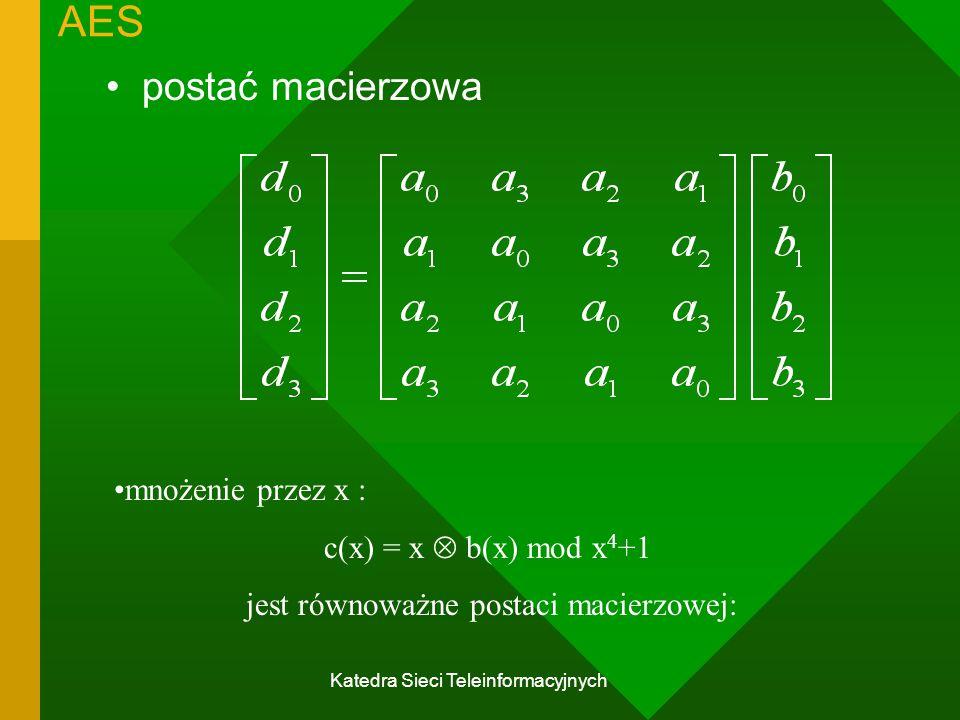 AES postać macierzowa mnożenie przez x : c(x) = x  b(x) mod x4+1