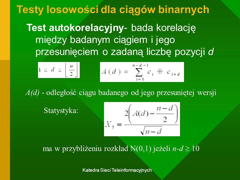 Testy losowości dla ciągów binarnych