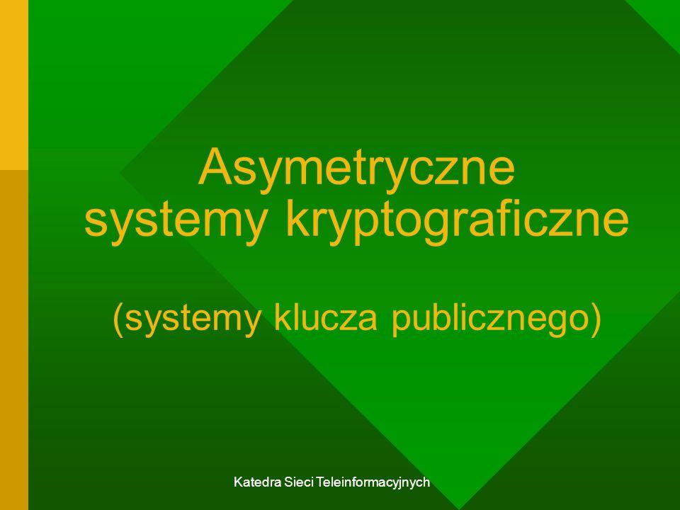 Asymetryczne systemy kryptograficzne (systemy klucza publicznego)