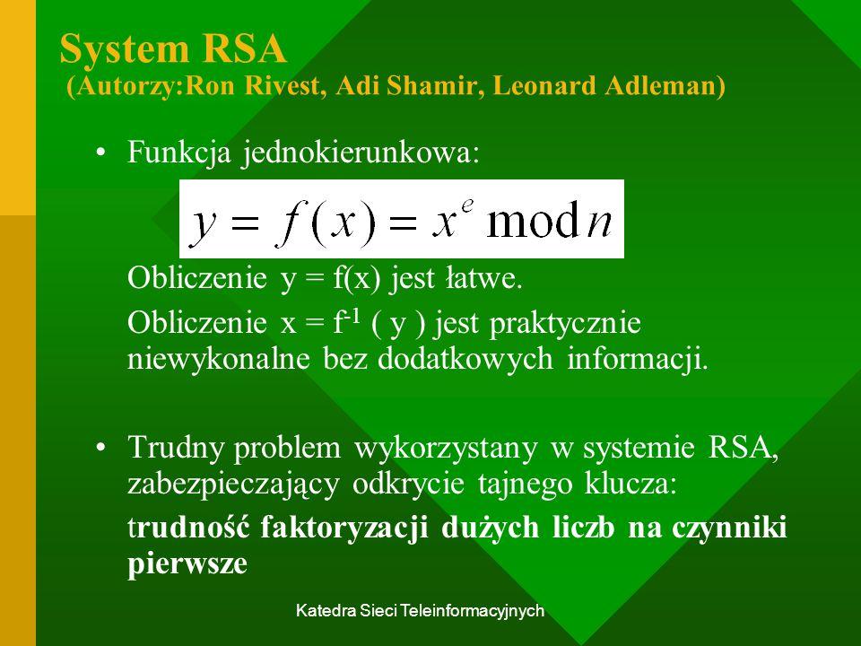 System RSA (Autorzy:Ron Rivest, Adi Shamir, Leonard Adleman)