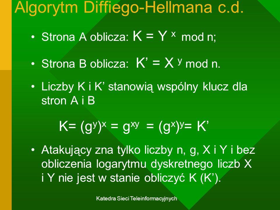 Algorytm Diffiego-Hellmana c.d.