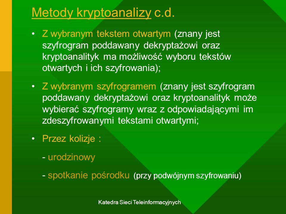 Metody kryptoanalizy c.d.
