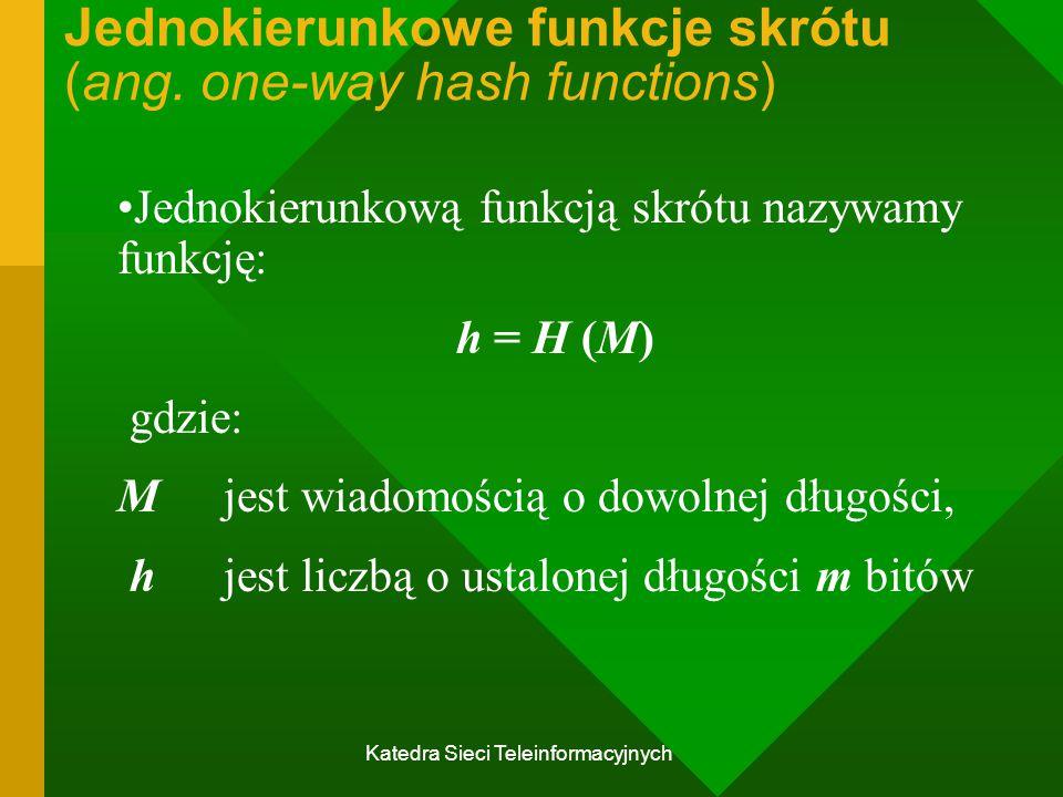Jednokierunkowe funkcje skrótu (ang. one-way hash functions)