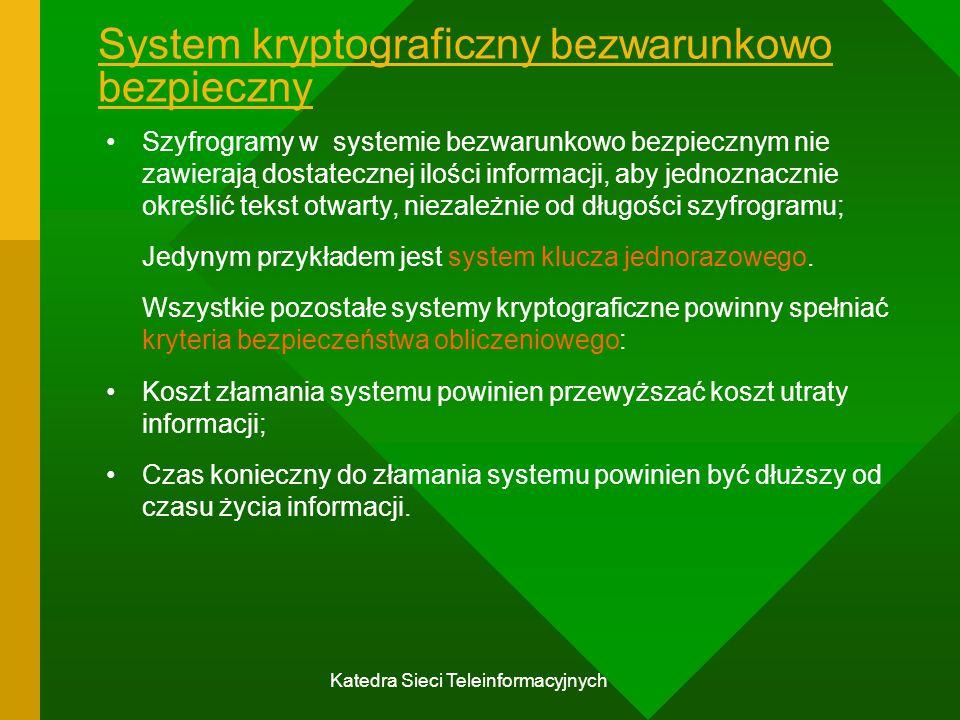 System kryptograficzny bezwarunkowo bezpieczny
