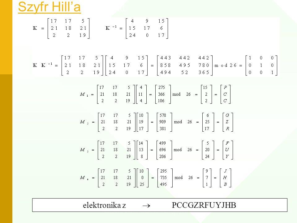 Szyfr Hill'a Przykład: elektronika z  PCCGZRFUYJHB