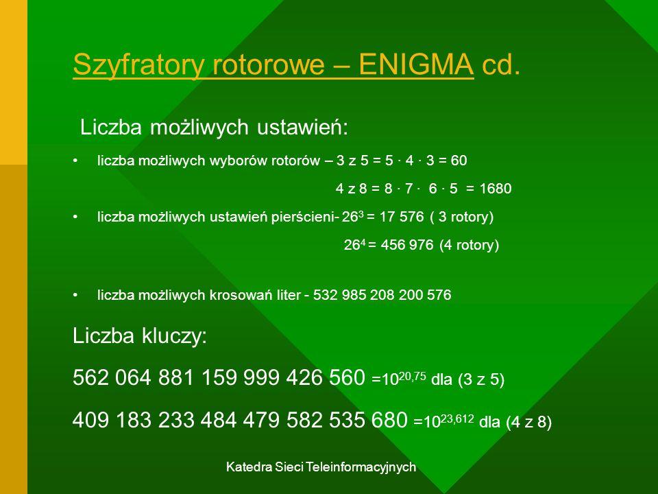 Szyfratory rotorowe – ENIGMA cd.