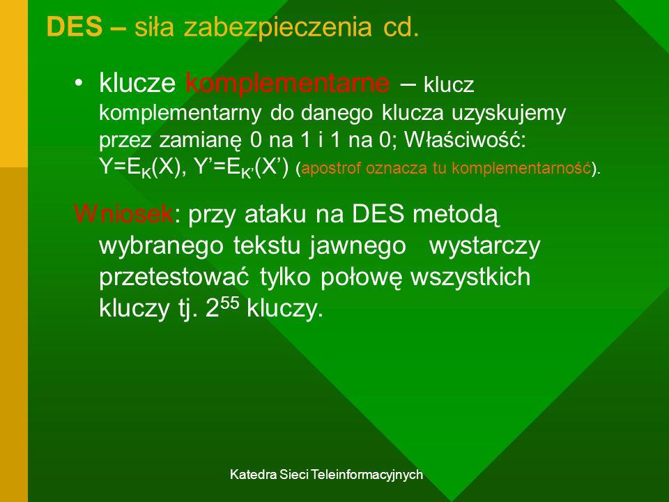 DES – siła zabezpieczenia cd.