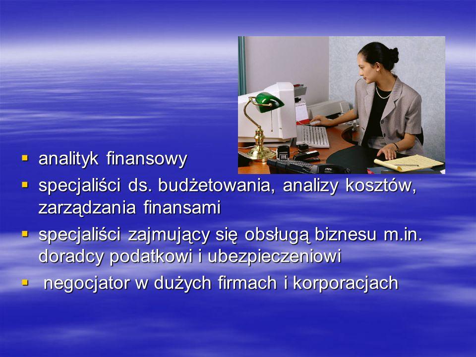 analityk finansowy specjaliści ds. budżetowania, analizy kosztów, zarządzania finansami.