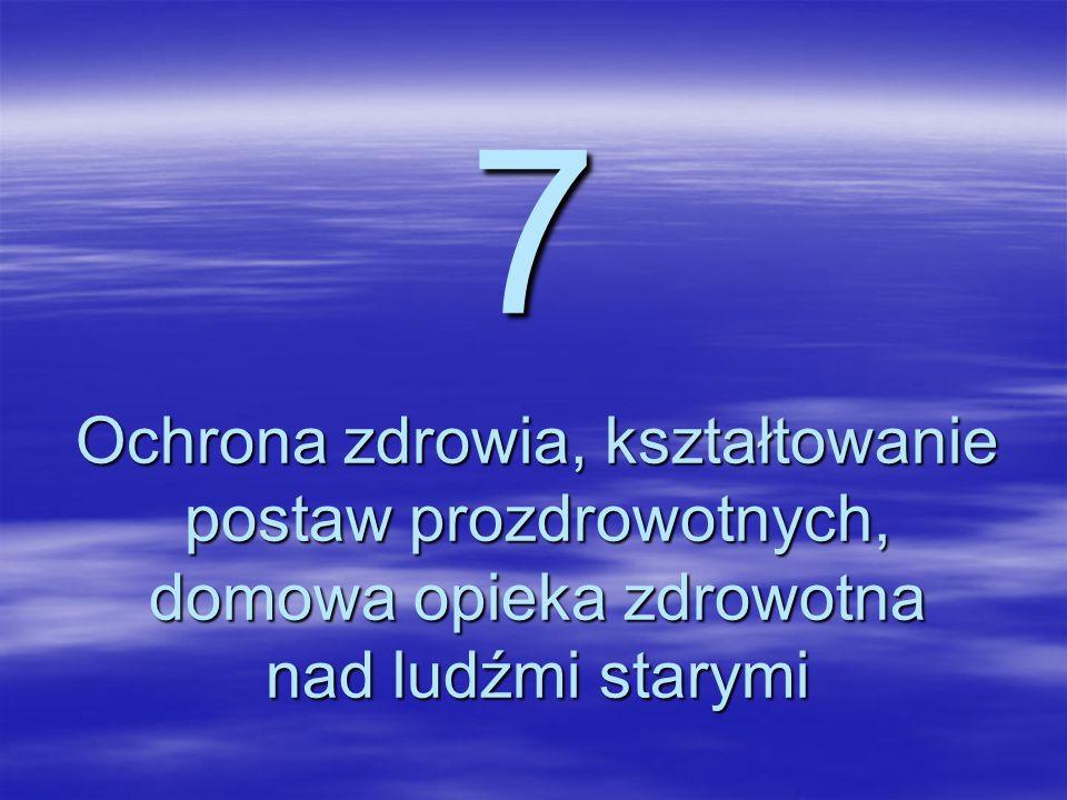 7 Ochrona zdrowia, kształtowanie postaw prozdrowotnych, domowa opieka zdrowotna nad ludźmi starymi.