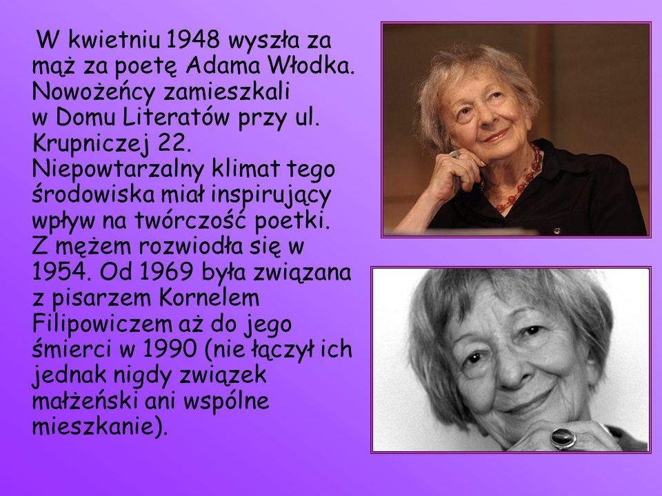 W kwietniu 1948 wyszła za mąż za poetę Adama Włodka