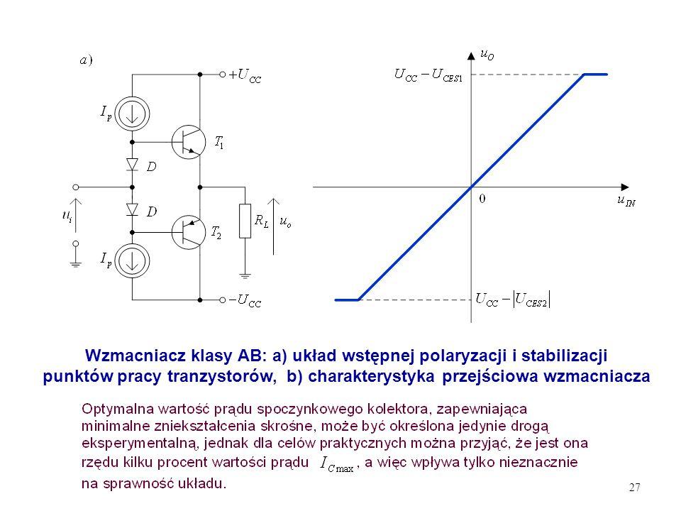 Wzmacniacz klasy AB: a) układ wstępnej polaryzacji i stabilizacji