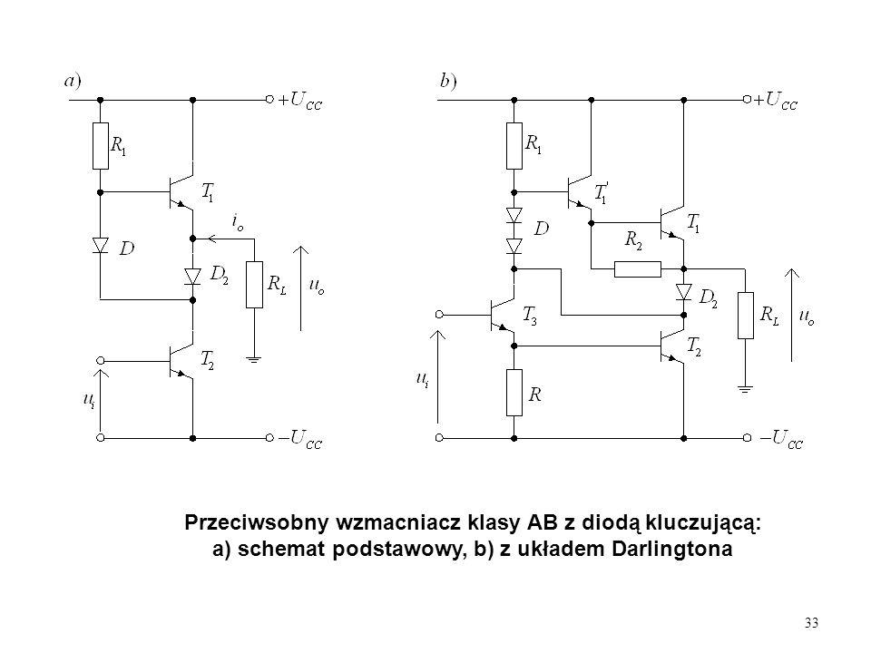 Przeciwsobny wzmacniacz klasy AB z diodą kluczującą: