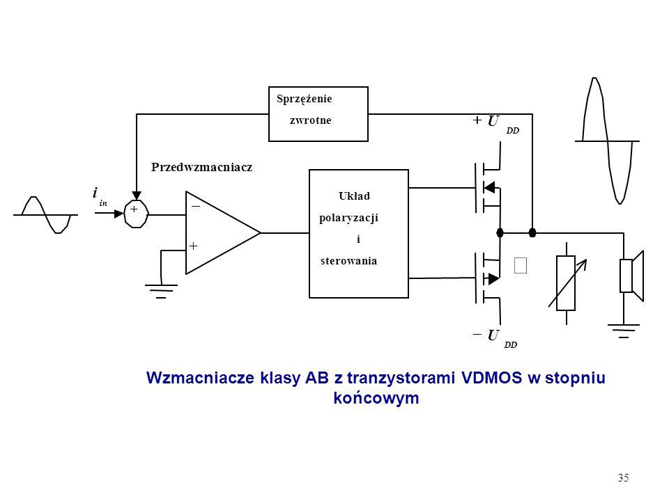 Wzmacniacze klasy AB z tranzystorami VDMOS w stopniu końcowym