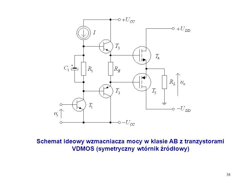 Schemat ideowy wzmacniacza mocy w klasie AB z tranzystorami