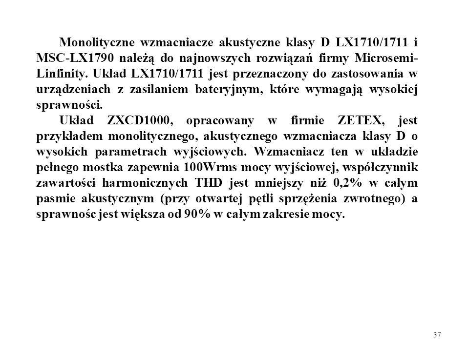 Monolityczne wzmacniacze akustyczne klasy D LX1710/1711 i MSC-LX1790 należą do najnowszych rozwiązań firmy Microsemi-Linfinity. Układ LX1710/1711 jest przeznaczony do zastosowania w urządzeniach z zasilaniem bateryjnym, które wymagają wysokiej sprawności.