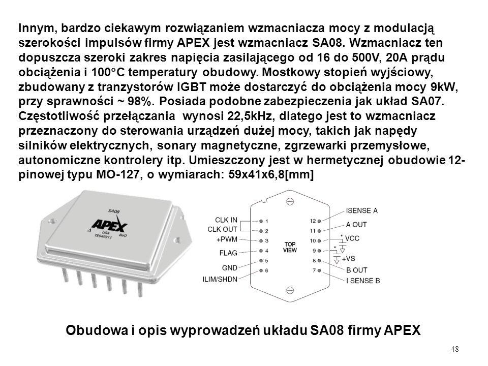 Obudowa i opis wyprowadzeń układu SA08 firmy APEX