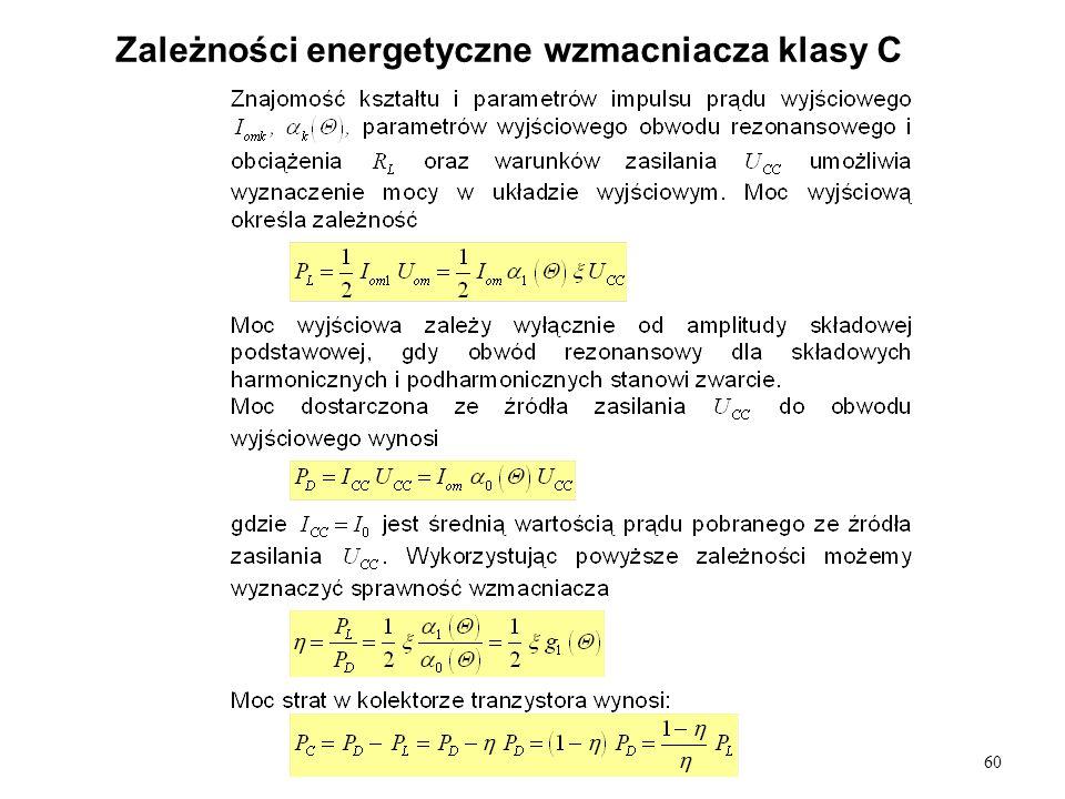 Zależności energetyczne wzmacniacza klasy C