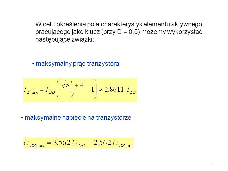 W celu określenia pola charakterystyk elementu aktywnego pracującego jako klucz (przy D = 0,5) możemy wykorzystać następujące związki: