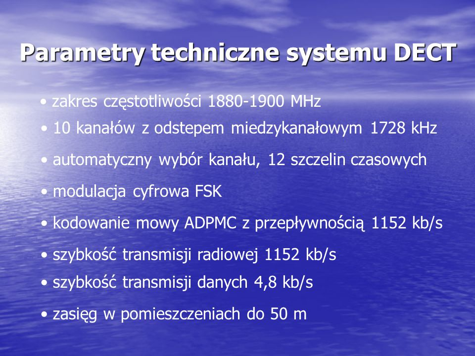 Parametry techniczne systemu DECT