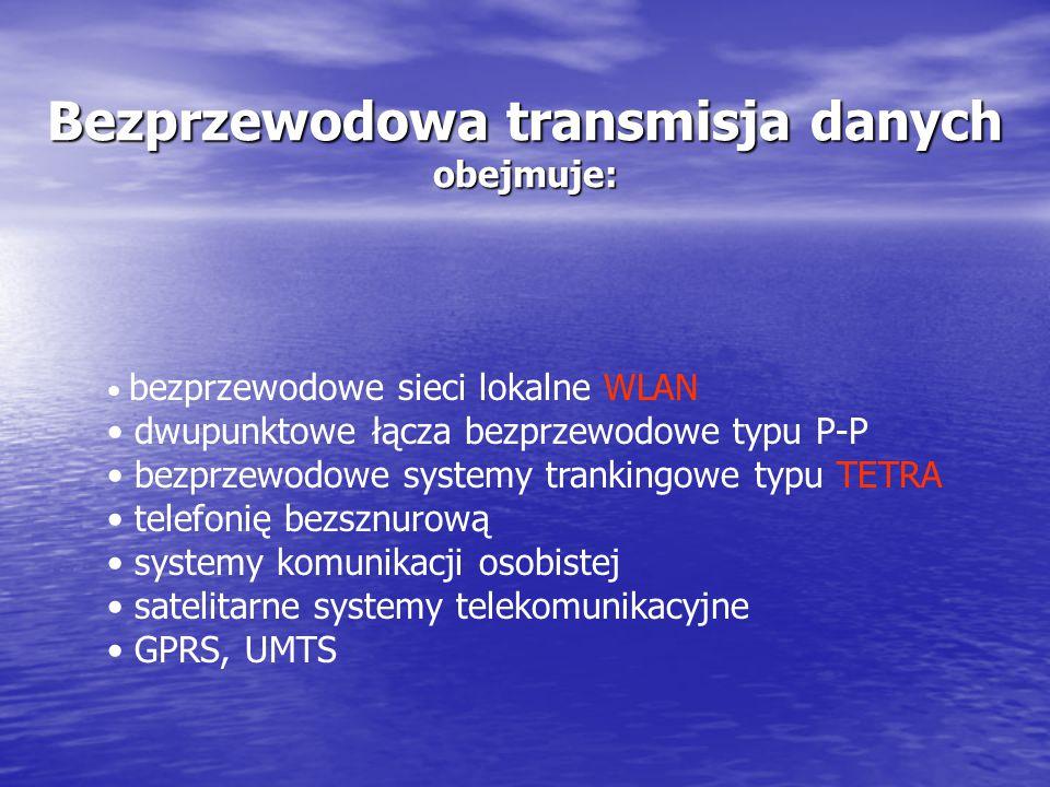 Bezprzewodowa transmisja danych obejmuje: