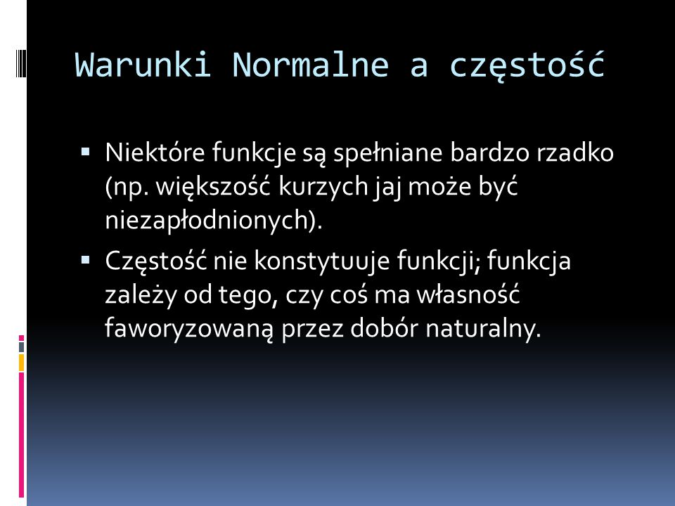 Warunki Normalne a częstość