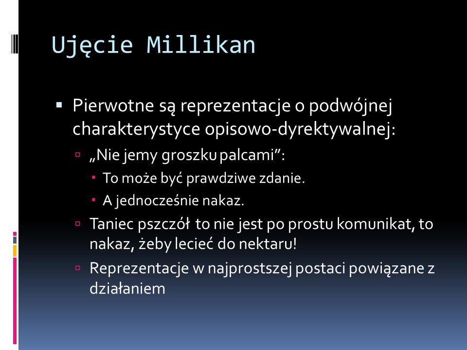 """Ujęcie Millikan Pierwotne są reprezentacje o podwójnej charakterystyce opisowo-dyrektywalnej: """"Nie jemy groszku palcami :"""