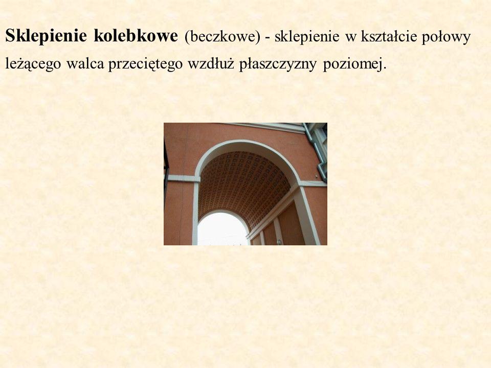 Sklepienie kolebkowe (beczkowe) - sklepienie w kształcie połowy